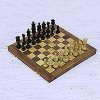 Wood chess set, 'Regal Lotus' - Acacia Wood Lotus Chess Set with Playing Pieces and Storage