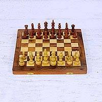 Wood chess set, 'Sunday Pastime' - Floral Wood Chess Set with Playing Pieces and Storage