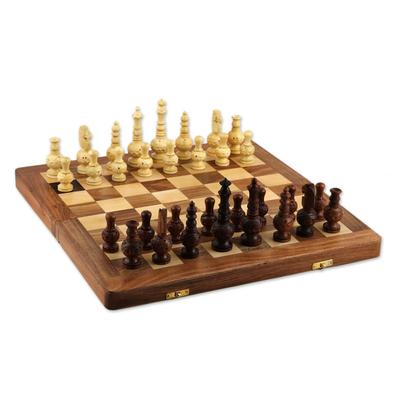 Wood chess set, 'Persian Grandeur' - Acacia and Kadam Wood Chess Set with Storage Inside