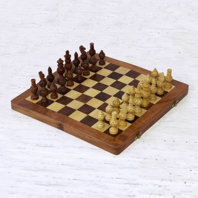 Wood chess set, 'Starry Pastime' - Wood Inlay Chess Set with Star Motif Playing Pieces