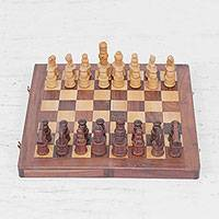 Wood chess board game, 'Classic Pastime' - Handmade Portable Wood Chess Board Game Set from India