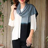 Cashmere scarf, 'Magical Ladakh' - Handwoven Blue and Black Cashmere Wrap Scarf with Fringe