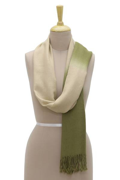 Cashmere scarf, 'Delicate Fusion' - Handwoven Light Brown and Olive Cashmere Wool Wrap Scarf