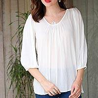 Lace-trimmed blouse, 'Dreamy' - Snow White Floral Lace Back Yoke Three-Quarter Sleeve Blouse