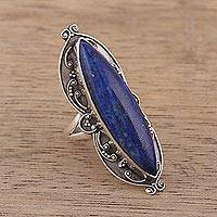Lapis lazuli cocktail ring, 'Princess of Delhi' - Handcrafted Lapis Lazuli and Sterling Silver Cocktail Ring
