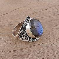 Labradorite cocktail ring, 'Evening Sea' - Handcrafted Labradorite and Sterling Silver Cocktail Ring