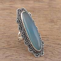 Chalcedony cocktail ring, 'Afternoon Sky' - Handcrafted Chalcedony and Sterling Silver Cocktail Ring