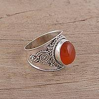 Carnelian cocktail ring, 'Fire's Heart' - Handcrafted Carnelian and Sterling Silver Cocktail Ring
