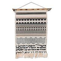 Cotton and bamboo wall hanging, 'Blissful Illusion' - Cotton and Bamboo Hand Woven Wall Hanging from India