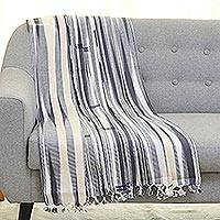 Cotton throw blanket, 'Striped Fusion' - Ivory and Grey 100% Cotton Throw Blanket Handwoven in India