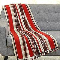Cotton throw blanket, 'Poppy Passion' - Poppy and Ivory Striped 100% Cotton Throw Blanket from India