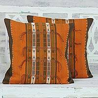 Cotton cushion covers, 'Burning Sunset' (pair) - Handmade 100% Cotton Orange Loomed Cushion Covers Pair