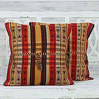 Cotton cushion covers, 'Colors of Nagaland' (pair) - Set of 2 100% Cotton Handmade Striped Cushion Covers