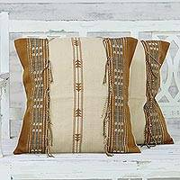 Cotton cushion covers, 'Warm Nagaland in Beige' (pair) - Set of 2 100% Cotton Handwoven Fringed Cushion Covers