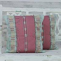 Cotton cushion covers, 'Warm Nagaland in Rose' (pair) - Set of 2 100% Cotton Handmade Pink Striped Cushion Covers