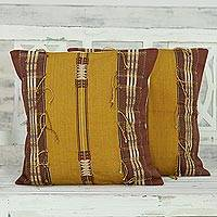 Cotton cushion covers, 'Warm Nagaland in Goldenrod' (pair) - Set of 2 100% Cotton Handmade Gold Striped Cushion Covers