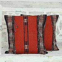 Cotton cushion covers, 'Burning Dawn' (pair) - 2 Cotton Handwoven Paprika Red Cushion Covers from India