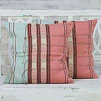 Cotton cushion covers, 'Soft Fusion' (pair) - 2 Backstrap Loom Handwoven Pink Cotton Cushion Covers