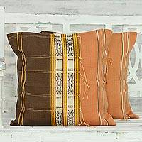 Cotton cushion covers, 'Autumn Equinox' (pair) - Handmade 100% Cotton Set of 2 Loomed Cushion Covers