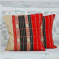Cotton cushion covers, 'Naga Beauty in Red' (pair) - Handmade 100% Cotton Set of 2 Loomed Red Cushion Covers