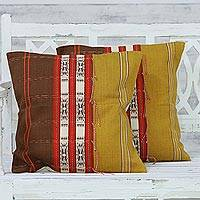 Cotton cushion covers, 'Naga Beauty in Brown' (pair) - Handwoven Cotton Set of 2 Brown and Yellow Cushion Covers