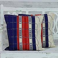Cotton cushion covers, 'Naga Beauty in Blue' (pair) - Handmade 100% Cotton Set of 2 Loomed Blue Cushion Covers