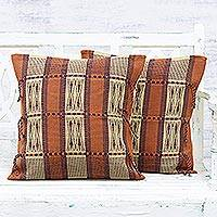 Cotton cushion covers, 'Glory of Kohima' (pair) - Pair of Burnt Sienna Geometric Motif Cotton Cushion Covers