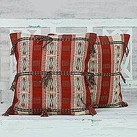 Cotton cushion covers, 'Rustic Naga' (pair) - Handwoven 100% Cotton Set of 2 Red and Brown Cushion Covers