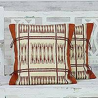 Cotton cushion covers, 'Afternoon Harvest' (pair) - 100% Cotton Handmade Orange Loomed Cushion Cover Pair