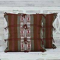 Cotton cushion covers, 'Walk in the Woods' (pair) - 100% Cotton Handmade Brown Loomed Fringed Cushion Cover Pair