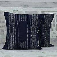 Cotton cushion covers, 'Illuminated by Moonlight' (pair) - 100% Cotton Handmade Navy Loomed Fringe Cushion Cover Pair