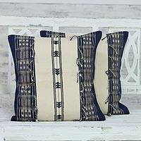 Cotton cushion covers, 'Classic Union in Ivory' (pair) - 100% Cotton Handmade Ivory Loomed Fringe Cushion Cover Pair
