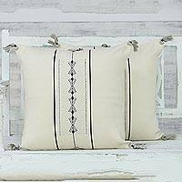 Cotton cushion covers, 'Neo Minimalist' (pair) - Handmade 100% Cotton Loomed Ivory Minimal Cushion Cover Pair