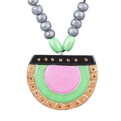 Coconut Shell Full Moon Ivory Wood Beaded Pendant Necklace