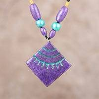Coconut shell pendant necklace, 'Purple Kites' - Purple Kites Coconut Shell Wood Beaded Pendant Necklace