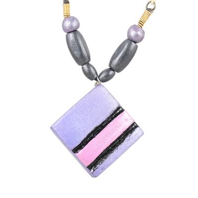 Hand-Painted Coconut Shell Striped Kite Pendant Necklace