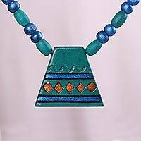 Coconut shell pendant necklace, 'Intriguing Pyramid' - Teal Blue Pyramid Beaded Coconut Shell Pendant Necklace