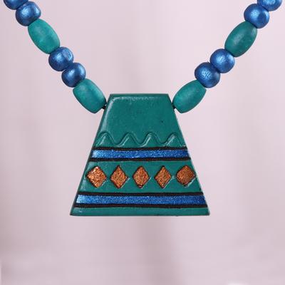 Novica Coconut shell pendant necklace, Moon Phase