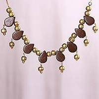 Coconut shell beaded necklace, 'Golden Storm' - Brown and Gold Rain Drop Beaded Coconut Shell Necklace