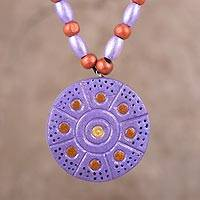 Coconut shell pendant necklace, 'Dot-to-Dot' - Lavender Ivory Wood and Coconut Shell Round Pendant Necklace