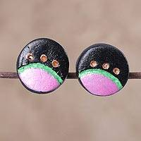 Coconut shell button earrings, 'Moon Phase' - Coconut Shell Full Moon Button Post Earrings from India