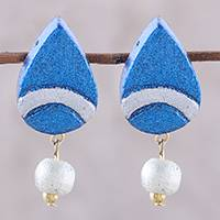 Coconut shell dangle earrings, 'Glistening Droplet' - Blue and Silver Teardrop Molded Coconut Dangle Earrings