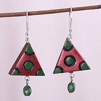 Coconut shell dangle earrings, 'Angles and Curves' - Red and Green Triangle Molded Coconut Dangle Earrings