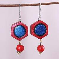 Coconut shell dangle earrings, 'Ocean and Fire' - Red and Blue Hexagon Molded Coconut Dangle Earrings