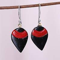 Coconut shell dangle earrings, 'Theatrics' - Red and Black Teardrop-Shaped Molded Coconut Dangle Earrings