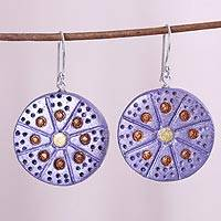Coconut shell dangle earrings, 'Dot-to-Dot' - Lavender Dot Motif Wheels Molded Coconut Dangle Earrings