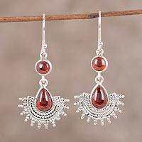Garnet dangle earrings, 'Crimson Radiance' - Ornate Sterling Silver Crimson Garnet Teardrop Earrings