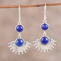 Lapis lazuli dangle earrings, 'Sweetly Radiant' - Sterling Silver Round Blue Lapis Lazuli Dangle Earrings