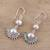 Cultured pearl dangle earrings, 'Sweetly Radiant' - Sterling Silver Round White Cultured Pearl Dangle Earrings (image 2b) thumbail