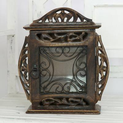Wood and wrought iron key holder box, 'Key Keeper' - Hand-Carved Mango Wood and Wrought Iron Key Holder Box